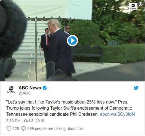 President Trump retort Taylor swift's political instagram post